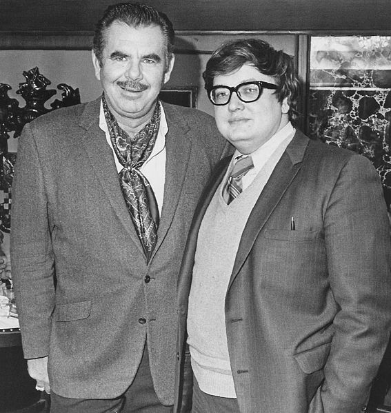 Photo courtesy of Wikimedia Roger Ebert is pictured here with cinema legend Russ Meyer in the '70s. Too bad the glasses did not make it out of the decade.