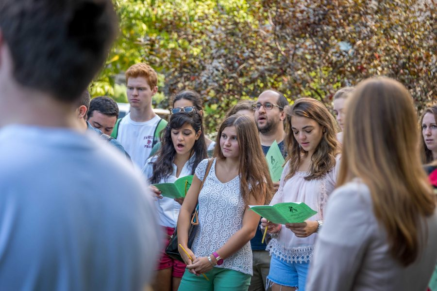 Students gathered to remember the lives lost on 9/11. Zack Miklos/ The Fordham Ram.
