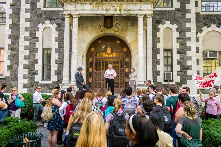 There have been many demonstrations in support of the unionization of adjunct faculty, including the one pictured above in 2016. (Andrea Garcia/The Fordham Ram)