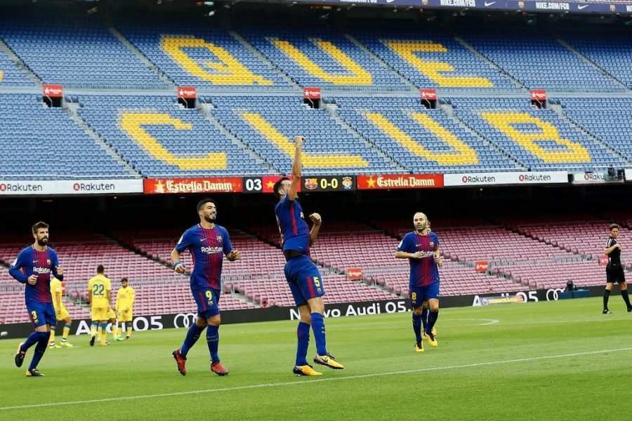 FC Barcelona played a part in the ongoing Catalonia protests, as they played a game in front of an empty stadium. (Courtesy of Twitter)