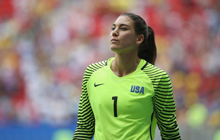 Former USWNT goalie Hope Solo accused former FIFA President Sepp Blatter of inappropriately touching her back in 2013. (Courtesy of Twitter)