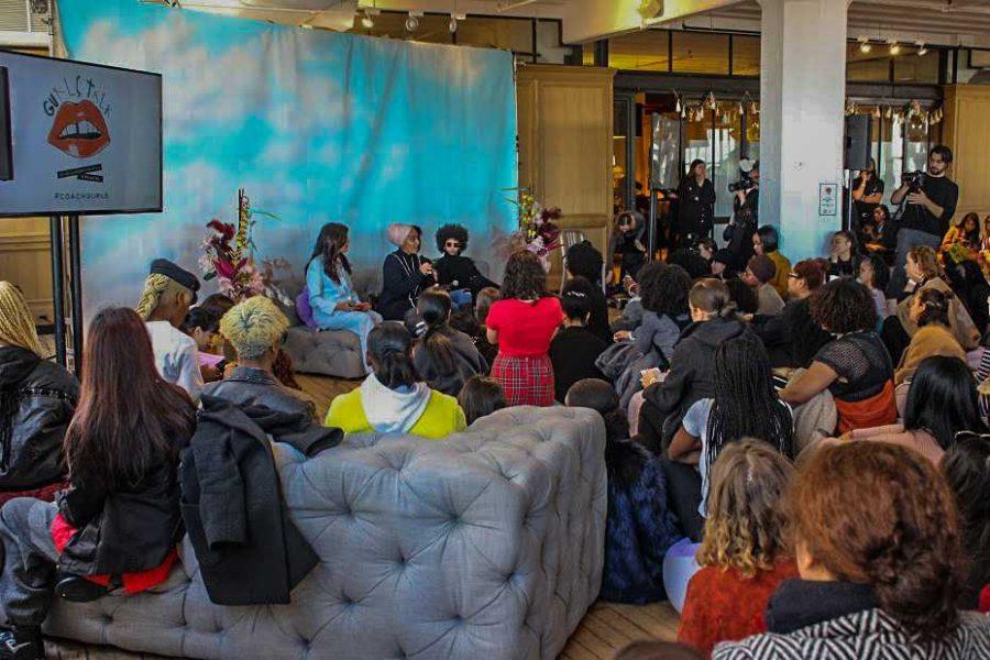 Fashion designer, Melody Ehansi moderates a panel on 'Race' with Black Lives Matter activist Janaya Khan, South Sudanese model Mari Malek and British-Pakistani model Mariah Idrissi. (Isha Khawaja/The Fordham Ram)