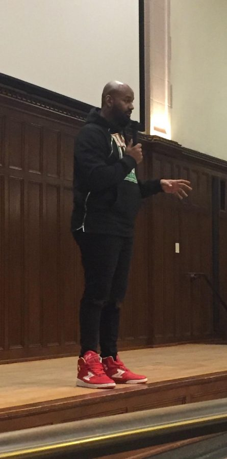 Hawk Newsome, president of Black Lives Matter of Great New York, addressed the Fordham study body about activism and community involvement in the Bronx (Courtesy of Fordham Libertarians).