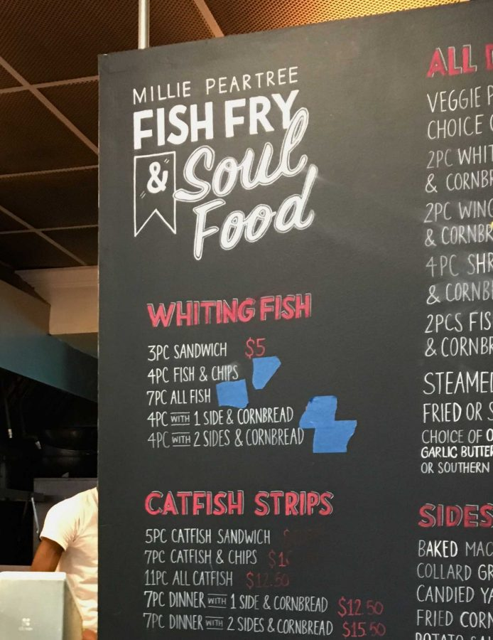 Millie Peartree Fish Fry and Soul Food is located on Grand Concourse near the Fordham Road subway station (Elizabeth Nealon/ The Fordham Ram).