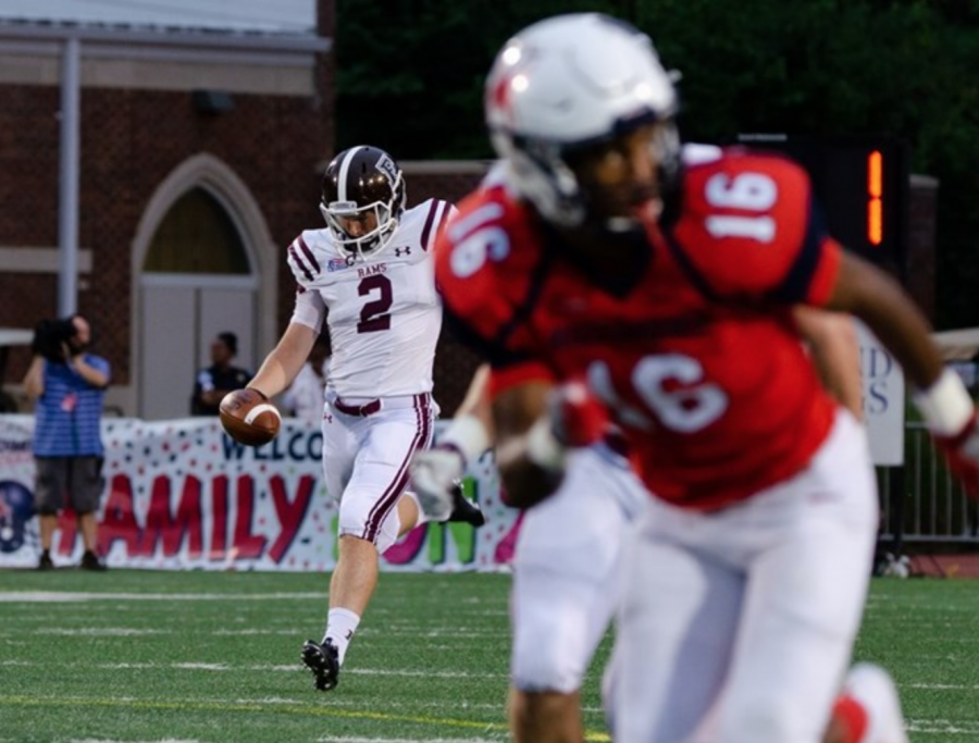 Sophomore punter Andrew Mevis sends off one of his eight punts. (Courtesy of Fordham Athletics)