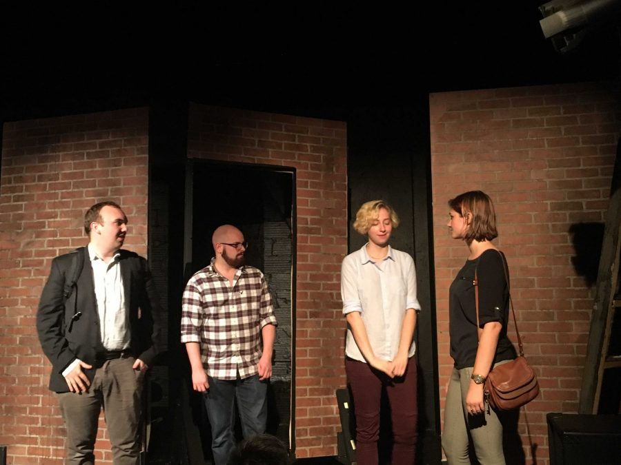 """From left to right: Zach Zalis, Matt Schumacher, Mary Hurstell and Hillary Bosch peform in """"On the Line"""" at the Collins Blackbox. (Courtesy of Chris Merola)"""