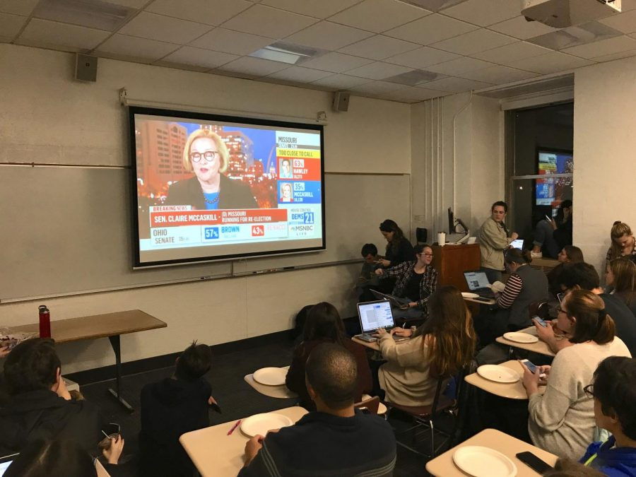 Students gathered at watch parties on campus held by College Democrats and USG (Kevin Stoltenborg/The Fordham Ram).