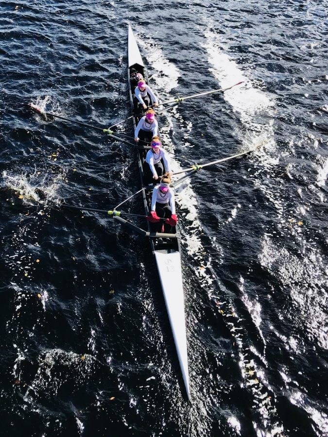 Fordham's rowing team finished fourth in the A-10 in the fall. (Robin Comerford/The Fordham Ram)