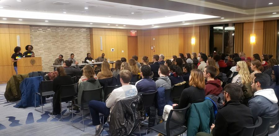 Students gather at the being Black at Fordham Panel hosted by ASILI. (Courtesy of Juan Carlos Matos)
