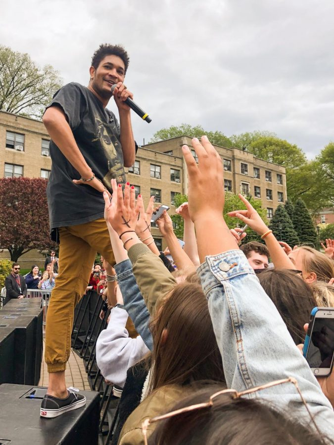 Bryce Vine jokes with eager students between songs during Fordham's Annual Spring Weekend Concert. (Courtesy of Ram Archives)