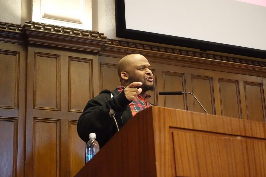 Kiese Laymon spoke at the English Departments Writers of Color Reading Series. (Courtesy of the Fordham English Department)