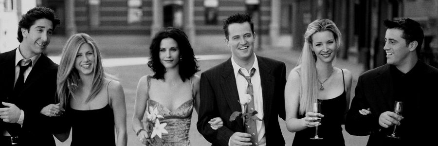 """Ross Geller, Rachel Green, Monica Geller, Chandler Bing, Pheobe Buffay and Joey Tribbiani, pictured above (left to right), are the main characters on """"Friends,"""" a popular American sitcom. (Courtesy of Twitter)"""