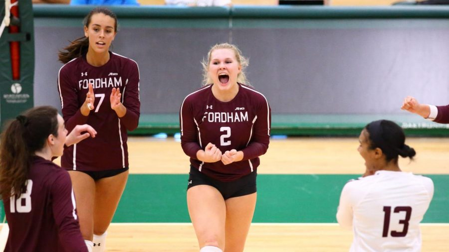 Fordham Volleyball played several close matches last week. (Courtesy of Fordham Athletics)