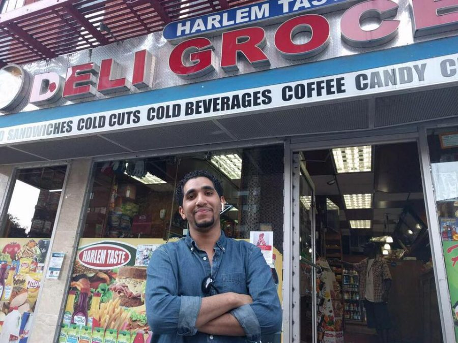 Hamsa Naji, the chef at Hajji's, stands outside of the Harlem bodega famous for the invention of the chopped cheese sandwich. (Courtesy of Facebook)