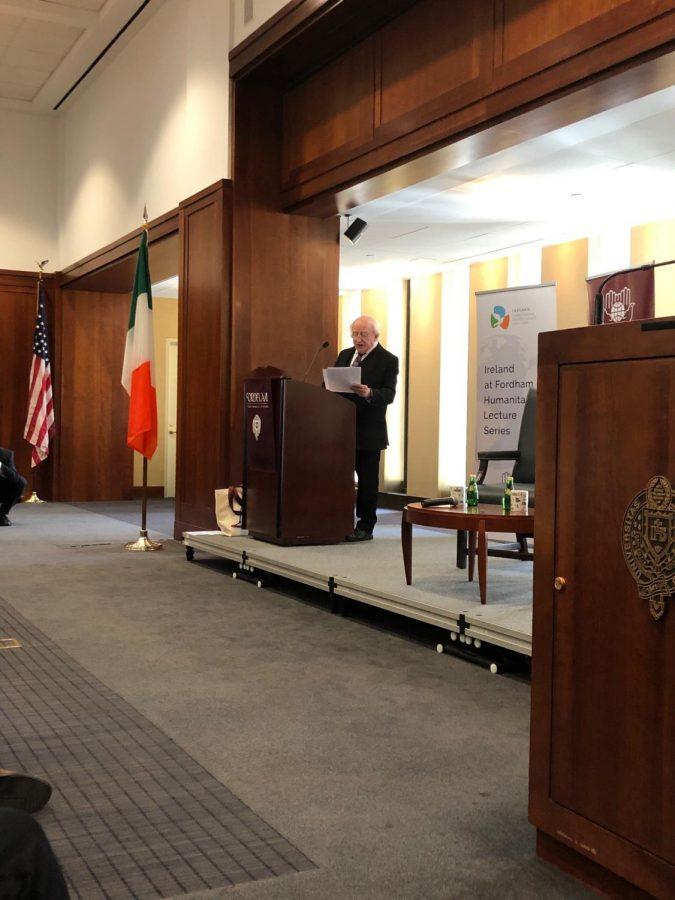 Michael D. Higgins, president of Ireland, spoke as part of Fordham's Humanitarian Lecture Series.