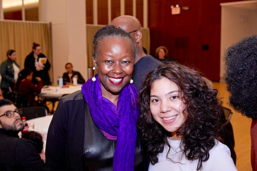 Keynote speaker of the 50th anniversary celebration, Farrah Jasmine Griffin, posed with Fordham student, Veronica Quiroga.