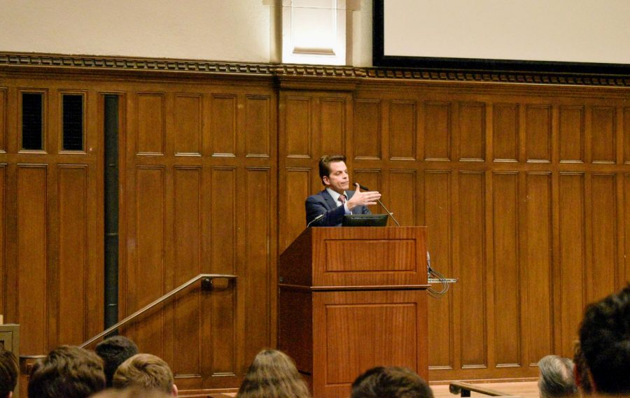 Anthony Scaramucci spoke about his time working in the White House at an event hosted by the College Republicans.
