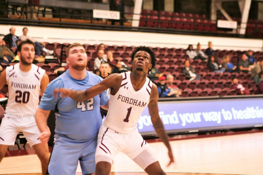 Chuba OHams (above) led the way for Fordham with a double-double on Tuesday night. (Alex Wolz/The Fordham Ram)