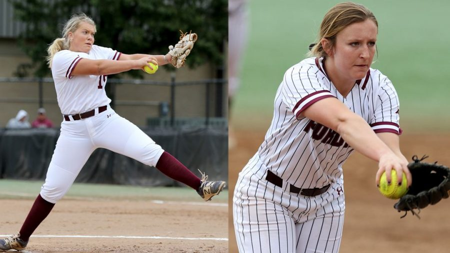 Devon Miller (left) and Madie Aughinbaugh (right) have emerged as top pitchers for Fordham Softball in the early part of the season. (Courtesy of Fordham Athletics)
