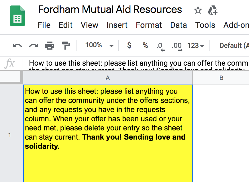 Fordham's mutual aid spreadsheet is divided into sections based on different types of needs students might have. (Jennifer Hoang/The Fordham Ram)