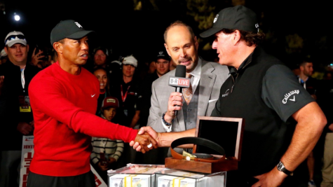 """Tiger Woods and Phil Mickelson (above) competed along with two of the greatest NFL quarterbacks ever in """"The Match II."""" (Courtesy of Flickr)"""
