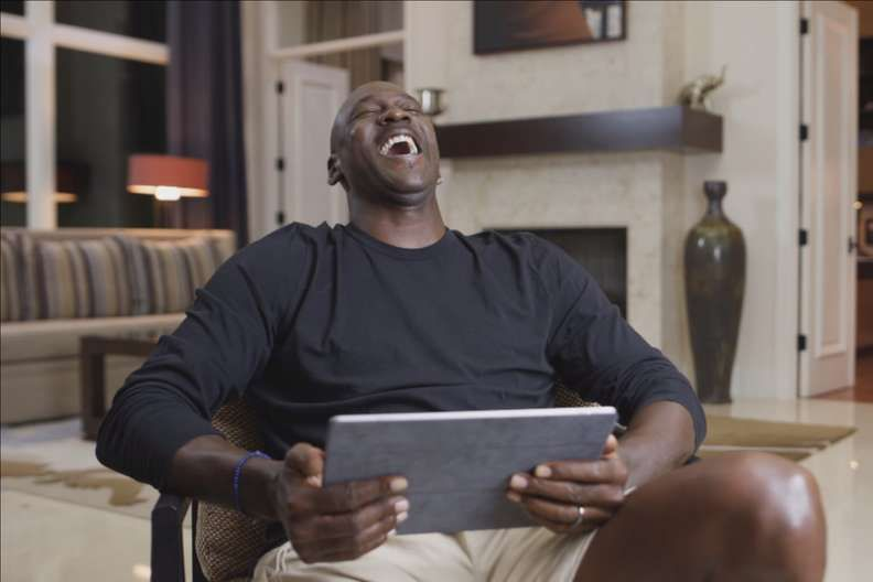 Michael Jordan has a laugh at comments made by Gary Payton in