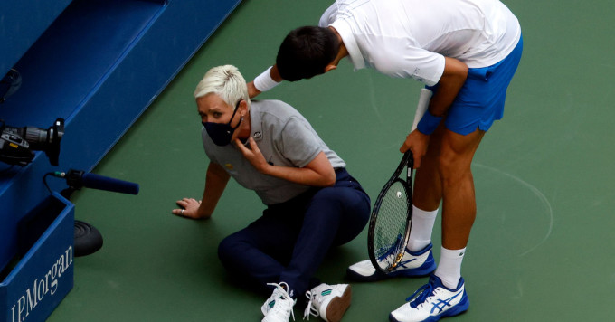 Novak Djokovic found himself in an odd situation at the US Open, and now he has to face the repercussions of his actions. (Courtesy of Twitter)