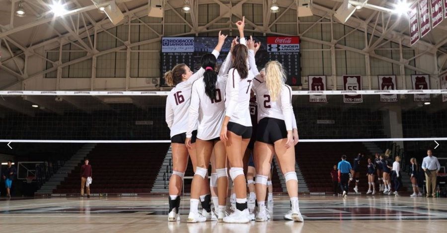 The Fordham volleyball team (above) in action last year, when games were taken for granted. (Courtesy of Fordham Athletics)