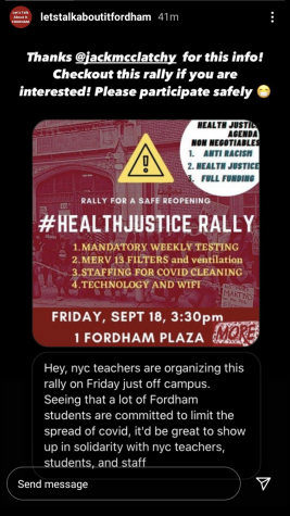 Fordham students showed up at the rally in support of teachers and community members. (Courtesy of Lets Talk About It Fordham)