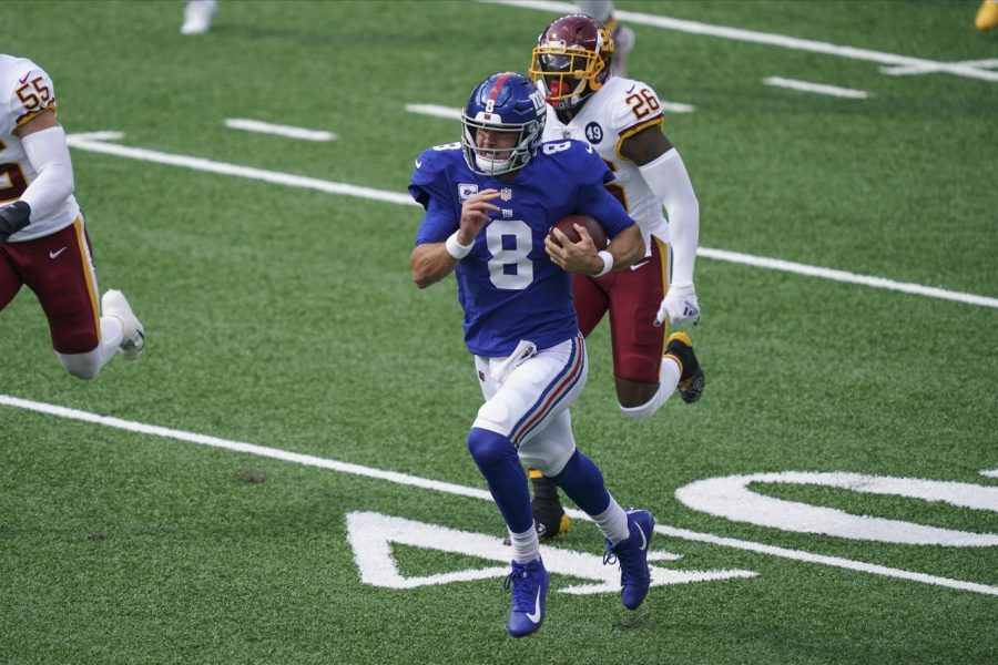 Daniel Jones (above) helped lead the Giants to their first win of 2020 on Sunday. (Courtesy of Twitter)