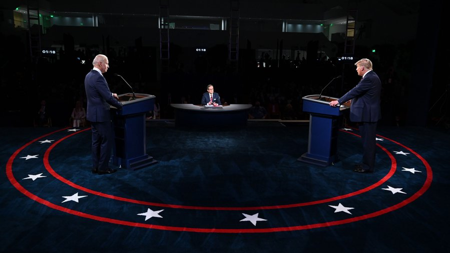 Biden and Trump spar in the first presidential debate, which took place last week. (Courtesy of Twitter)