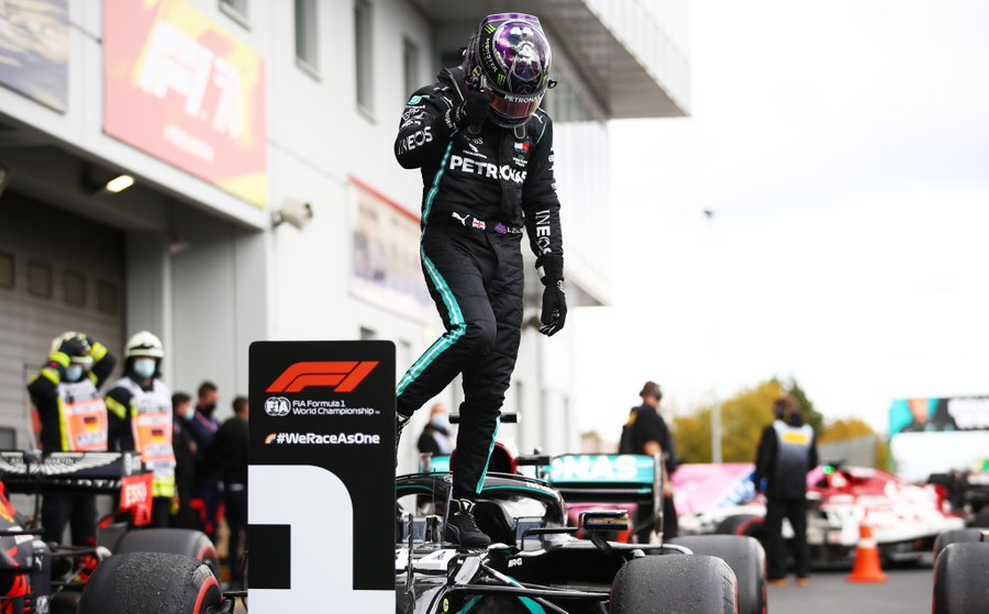 Lewis Hamilton (above) won Sunday's Eifel Grand Prix. (Courtesy of Twitter)