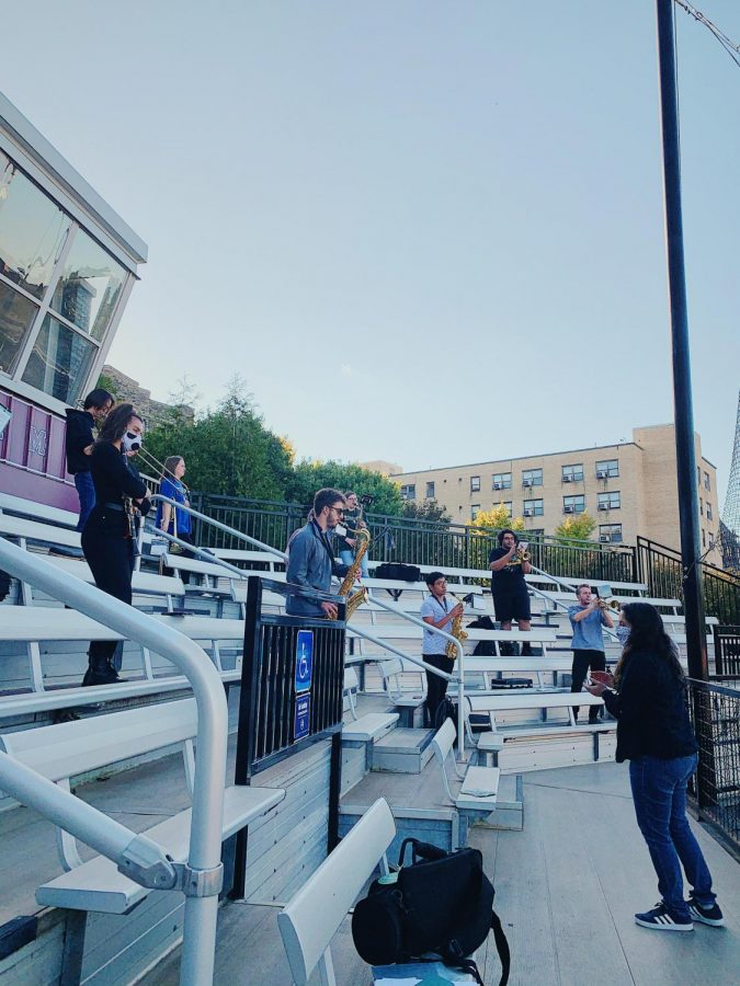 The pep band has been holding outdoor practices to accomodate for social distancing. (Courtesy of Taylor Mascetta/ The Fordham Ram)