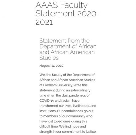 The Department of African and African-American Studies released a statement on Fordham University