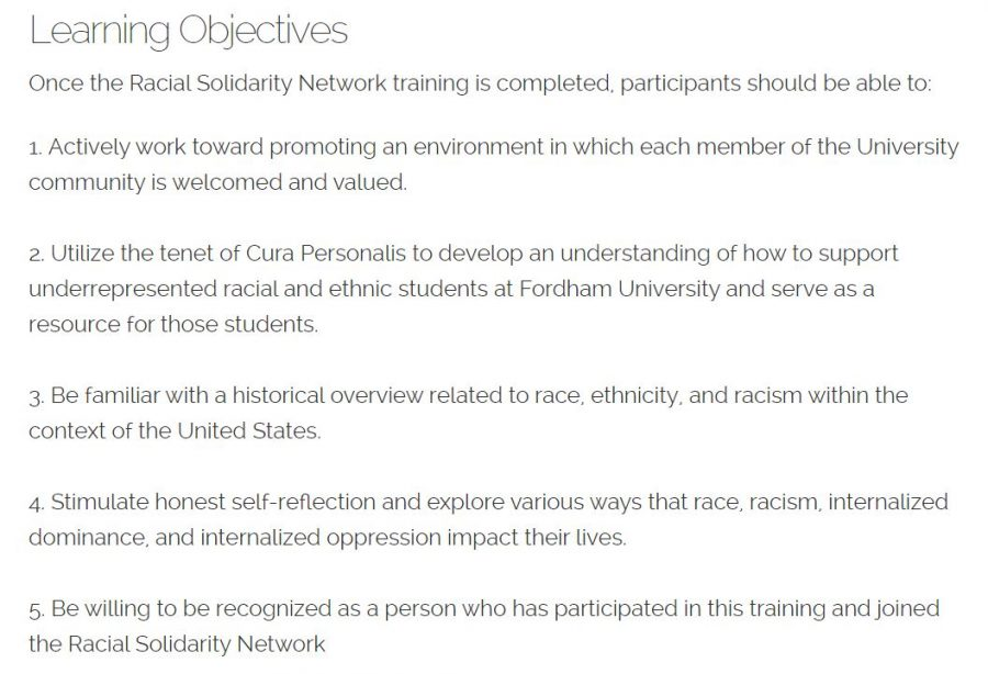 The objectives of the Racial Solidarity Network emphasize openness to others and honesty regarding race relations (Photo courtesy of the Fordham University Website).