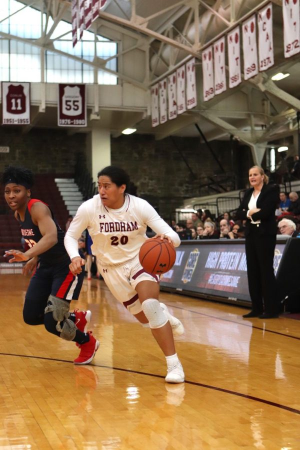 Kendell Heremaia (above) will be critical to the Fordham women's basketball team's hopes of winning the Atlantic 10 this season. (Mackenzie Cranna/The Fordham Ram)