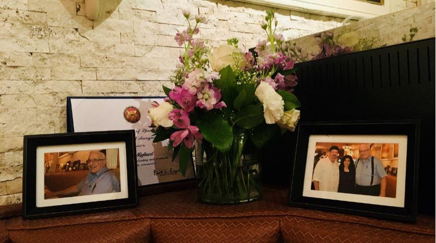 Oct. 3, 7:40 p.m. — A corner booth at Mario's is kept empty in memory of Joseph Migliucci. (Courtesy of Cornelius Van Cott)