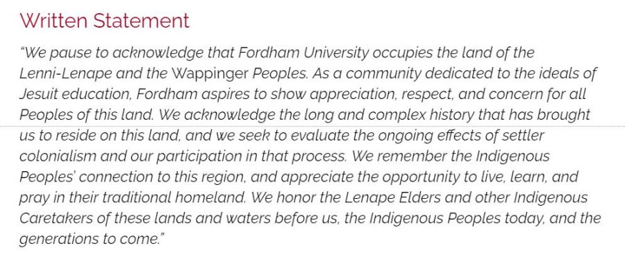 The Diversity Action Coalition (DAC) has been working to ensure that the Lenni-Lenape and Wappinger Peoples are recognized as the inhabitants Fordham University rests on. (Mackenzie Cranna/ The Fordham Ram)