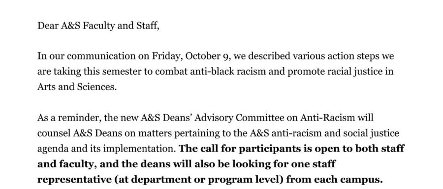 On Oct. 20, Arts and Sciences faculty received an email calling for any participants in the Advirosy Committee on Anti-Racism. (Mackenzie Cranna/ The Fordham Ram)