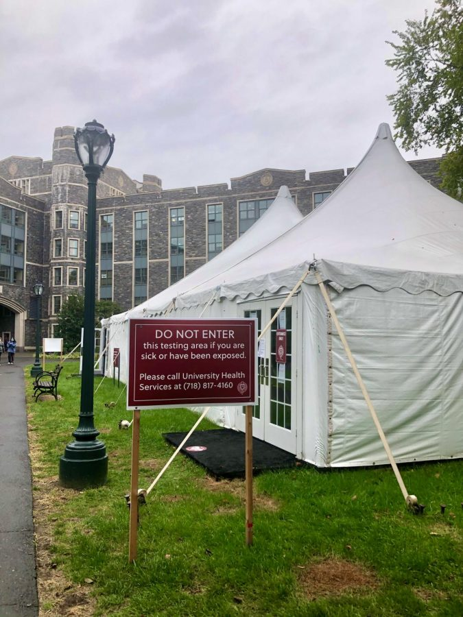 One aspect of Fordham University's containment plan for COVID-19 on campus is offering COVID tests on campus. (Mackenzie Cranna/ The Fordham Ram)