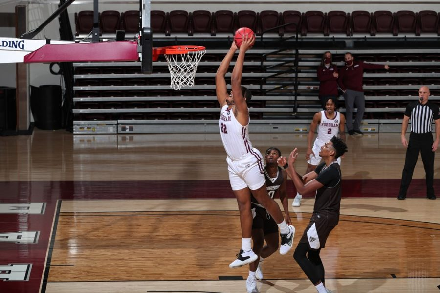 Joel Soriano (above) continued his double-double streak on Wednesday. (Courtesy of Fordham Athletics)