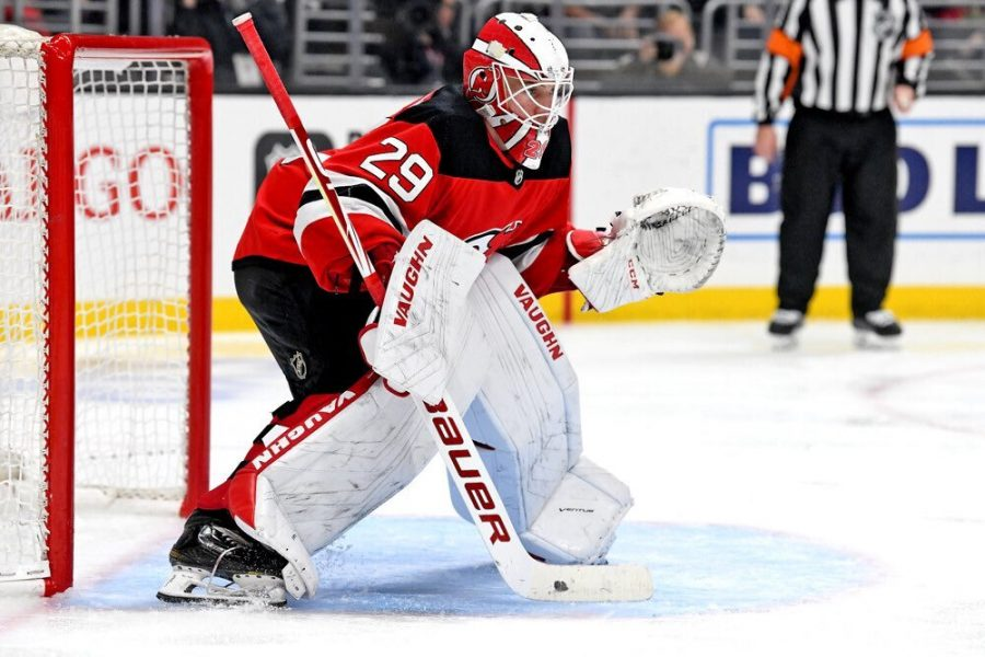 Mackenzie Blackwood's (above) goaltending played a crucial role in the Devils' return to action against the Rangers. (Courtesy of Twitter)