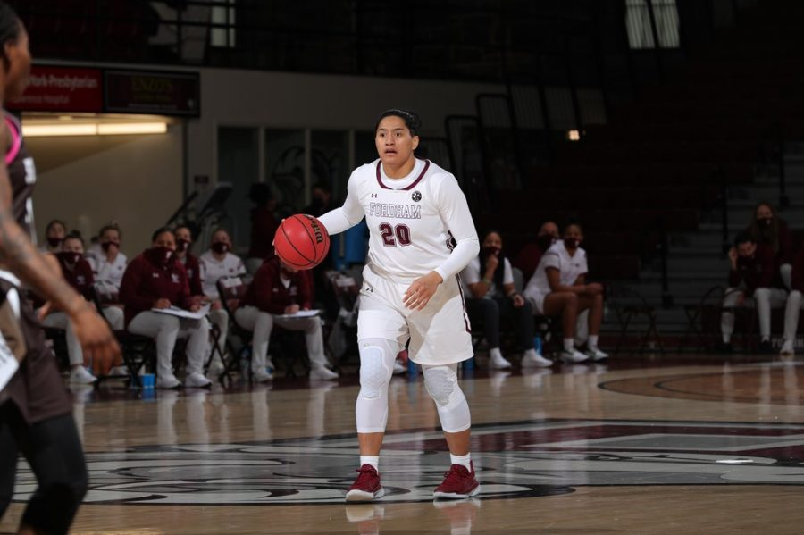 Heremaia (above) and DeWolfe combined for 47 of the team's 73 points in the win against Davidson. (Courtesy of Fordham Athletics)