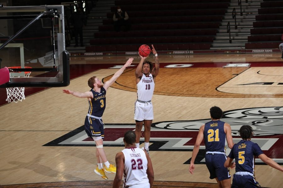 Ty Perry (above) was one of many to overcome his scoring woes in Fordham's best offensive game of the season. (Courtesy of Fordham Athletics)