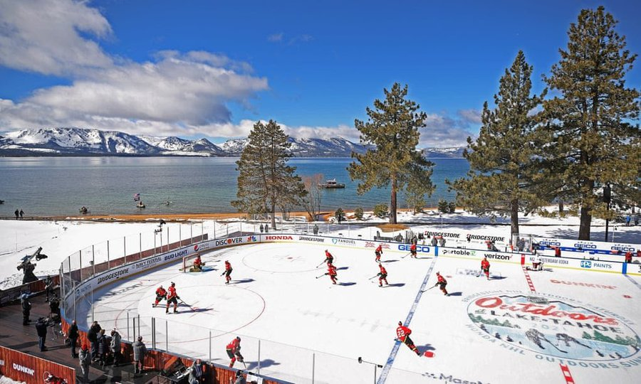 The brilliant idea and beautiful views of Lake Tahoe were thwarted by the NHL's poor consideration of the climate. (Courtesy of Twitter)