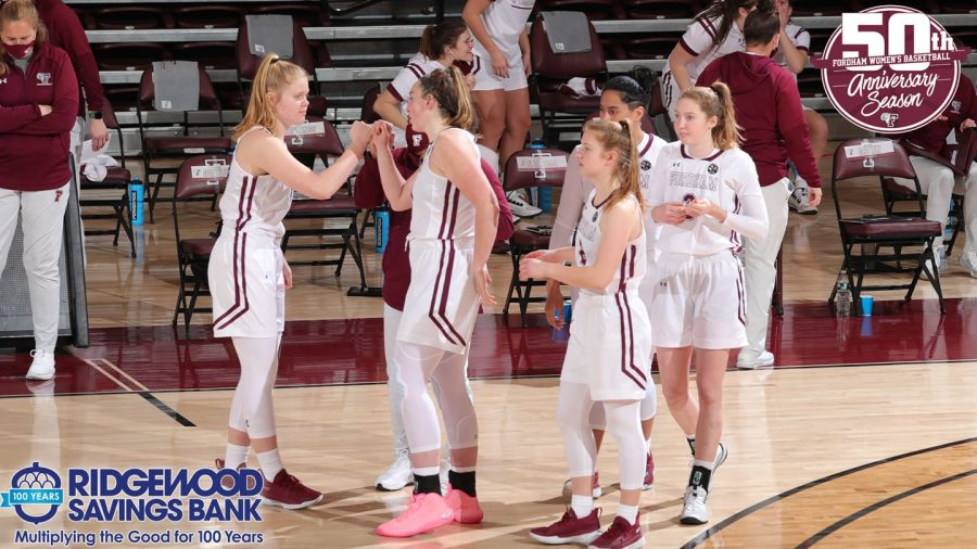 The women's basketball team was able to defeat St. Joes right before entering a two-week pause (Courtesy of Fordham Athletics)