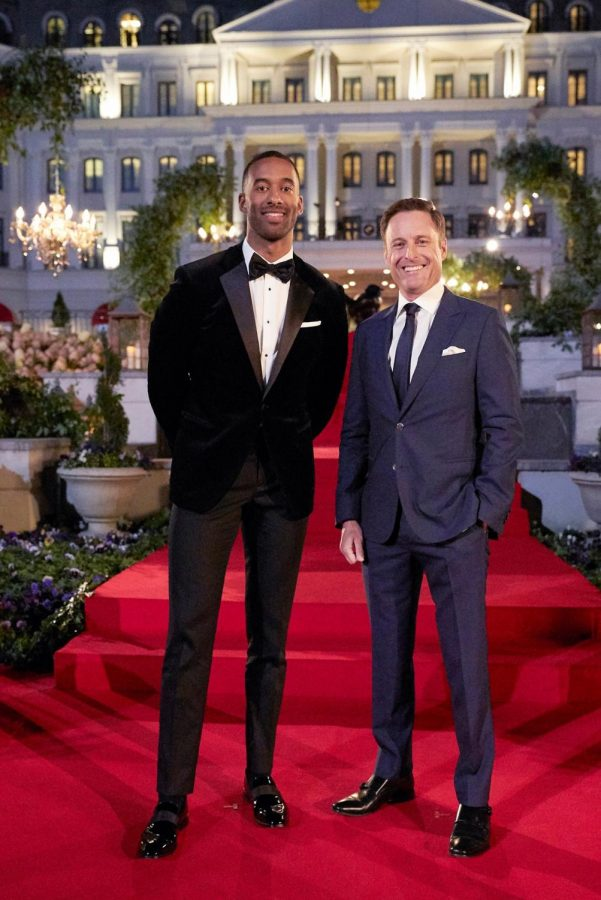 """Chris Harrison (right) steps down from """"The Bachelor,"""" he will not appear in the """"After the Final Rose"""" episode with Matt James (left), this season's bachelor. (Courtesy of Facebook)"""