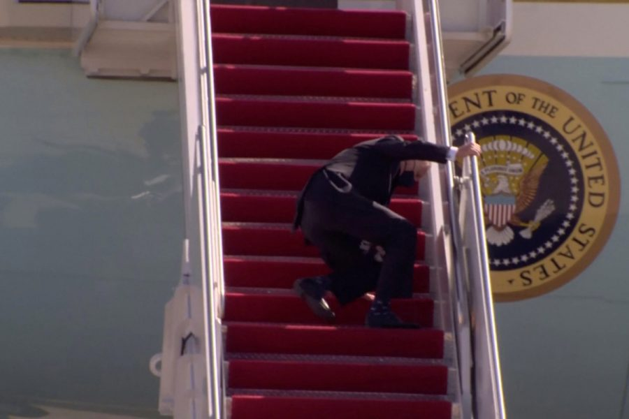 On Friday, March 19, President Biden fell a notable three times while walking up the steps of Air Force One. (Courtesy of Twitter)
