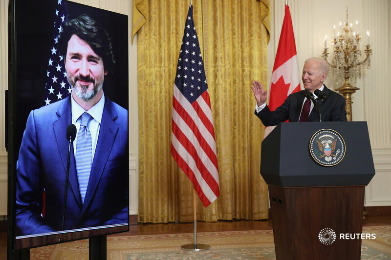 President Joe Biden and Canadian Prime Minister Justin Trudeau held a virtual meeting to discuss climate change and shared policy priorities. (Courtesy of Twitter)