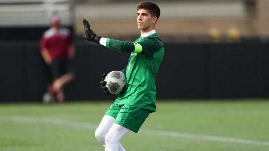 Despite facing numerous shots on the day, Levines (above) stout presence in goal kept the Explorers off the scoresheet to aid the Rams victory. (Courtesy of Fordham Athletics)